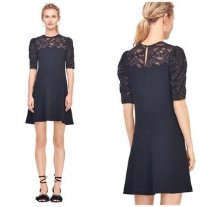 Rebecca Taylor Crepe & Corded Lace Dress